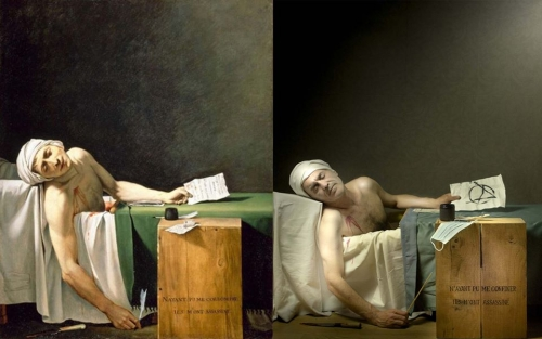 Odile Viale et Patrick Evrard Marat par David (copie Louvre) Marat 2020.jpg