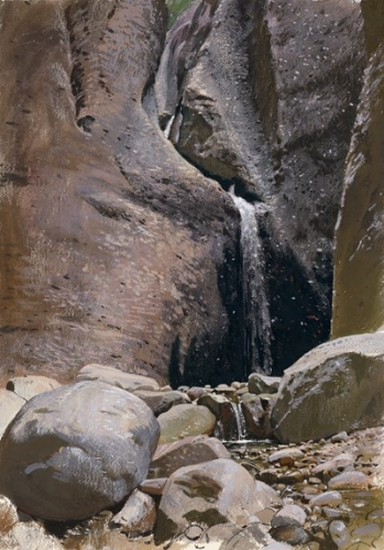 Adolf HIREMY-HIRSCHL-A Waterfall in Switzerland-.jpg
