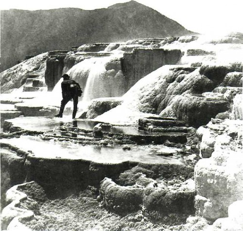 WILLIAM HENRY JACKSON. Hot Springs on the Gardiner River, Upper Basin (Thomas Moran Standing), 1871.jpg