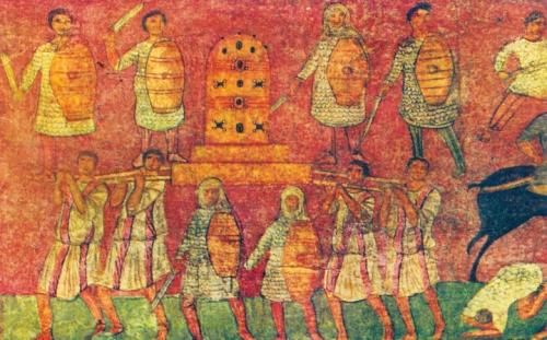Prise de l'Arche par les Philistins à la bataille d'Eben Ezer, fresque de la synagogue de Doura Europos en Syrie, vers 250..jpg