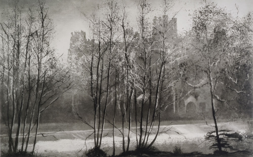 Norman Ackroyd January Sunrise, Ludlow, Dinham Weir Wales 2003.jpg
