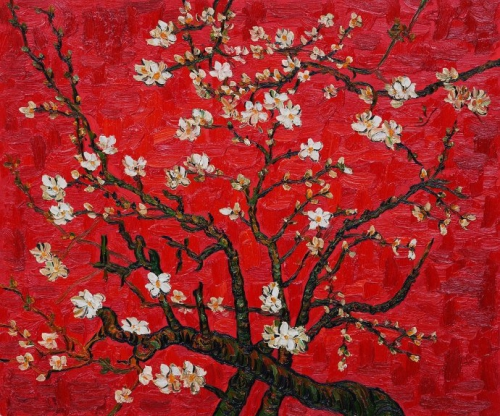 Vincent van Gogh Branches of an Almond Tree in Blossom (Interpretation in Red)  1890.jpg