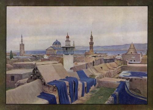 J.Gervais-Courtellemont, Terrasse de Damas, les teinturiers font sécher au soleil les pièces de cotonnades bleues auotchrome.jpg