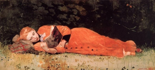Winslow Homer , The New Novel, 1877_n.jpg