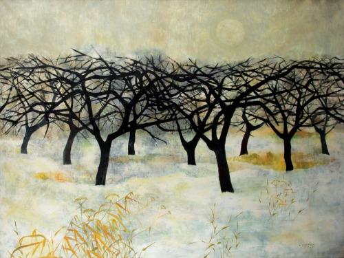 Ota Janeček (Czech, 1919-1996), Apple orchard in winter, 1951. .jpg