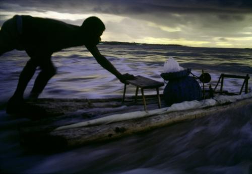 Miguel Rio Branco Salvador de Bahia. Piata Beach. A Jangadeiro goes fishing. 1984..jpg