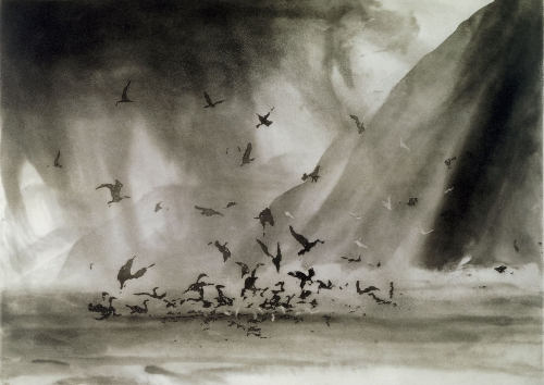 Norman Ackroyd Morning Rain, Great Blasket Irlande 2004.jpg