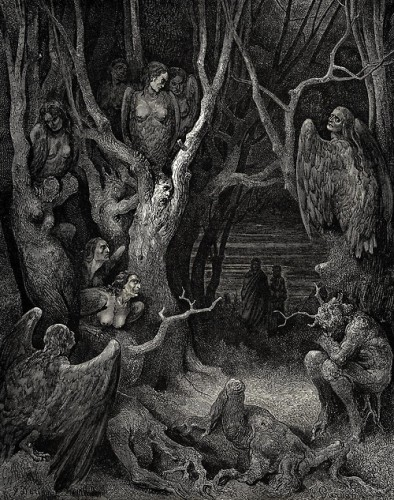 Gustave Doré, Canto 13 The Harpies In the Forest Of Suicide (Dante Alighieri's Inferno), c.1890..jpg
