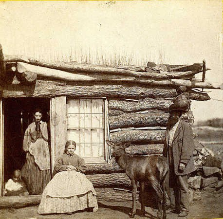 Alexander Gardner Group with tame elk at ranch on Clear Creek, Kansas 1867.jpg