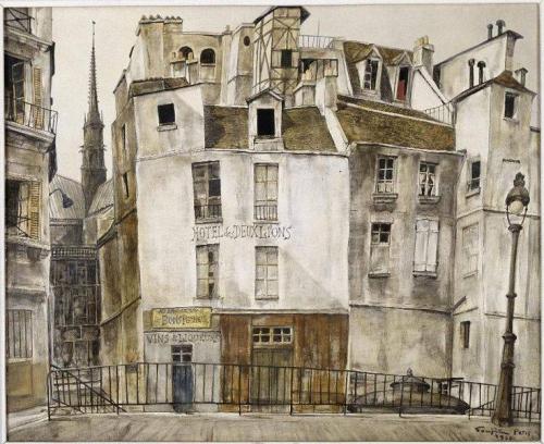 Léonard Foujita Le quai aux fleurs, Notre-Dame 1950.jpg