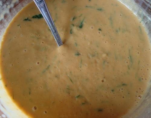 purée de lentilles corail, ail des ours, yaourt de brebis, curry, .JPG