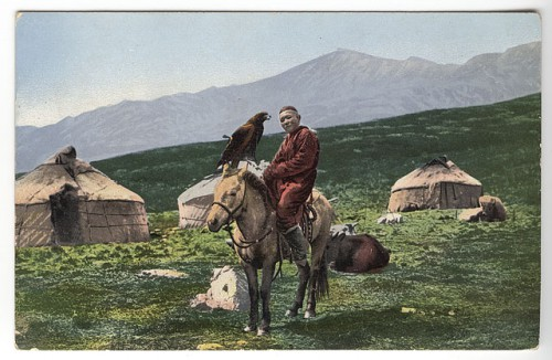 Sergei Ivanovich Borisov, Kazakh man on horse with golden eagle - ca.1911-14.jpg