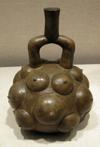 Stirrup Spout Vessel Fruit 12th–5th century BCE Peru Peruvian Cupisnique Ceramic 29 cm -.jpg