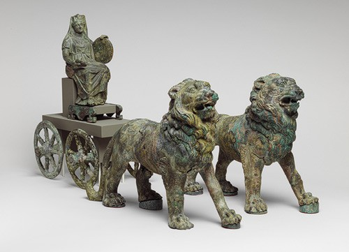 Statuette of Cybele on a cart drawn by lions, Imperial, second half of 2nd century A.D., Roman, Bronze.jpg