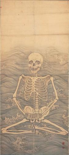 Maruyama Okyo, Squelette pratiquant zazen sur les vagues, vers 1787 (Japon).jpg