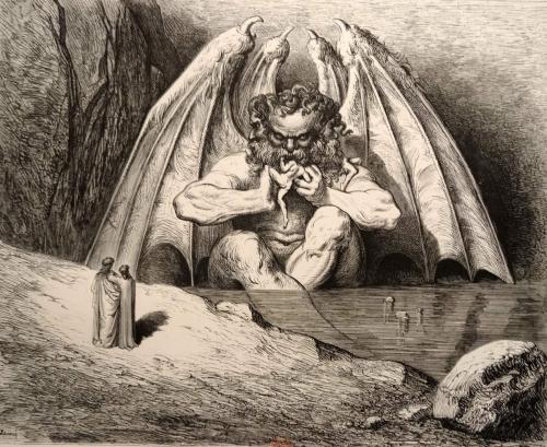 Gustave Doré - Lucifer - Planche inédite de l'enfer de Dante - 1861 - gravure sur bois.jpg