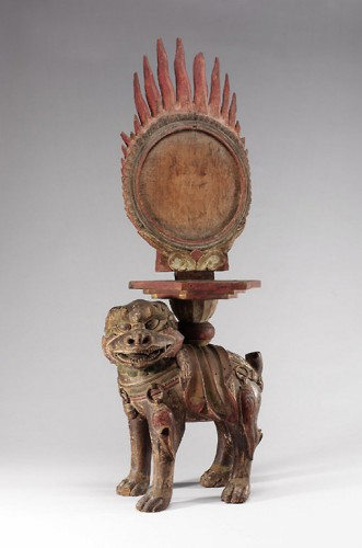 The Karma Mirror (evil-revealing mirror) on a stand in form of the Hell's Dog Demon, Korea (Joseon Dynasty, 1860s).jpg