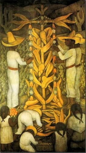diego rivera La fiesta de maíz. 1923-4. Fresco. 4.38 x 2.39 m. Ministerio de Educación. México DF. México.  .jpg