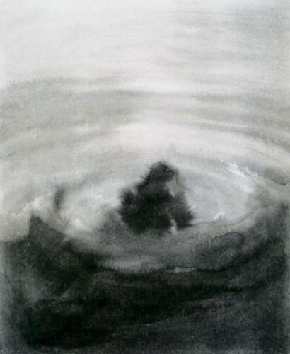Charley CASE - Dessin - Pilgrim in Ganges - 2003 - Lavis - encre sur papier - 29 x 22 cm.jpg