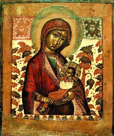 Vierge Marie allaitant Jésus et le prophète Balaam,Catacombe Sainte Priscille, Rome, du IIe siècle siècle.jpg