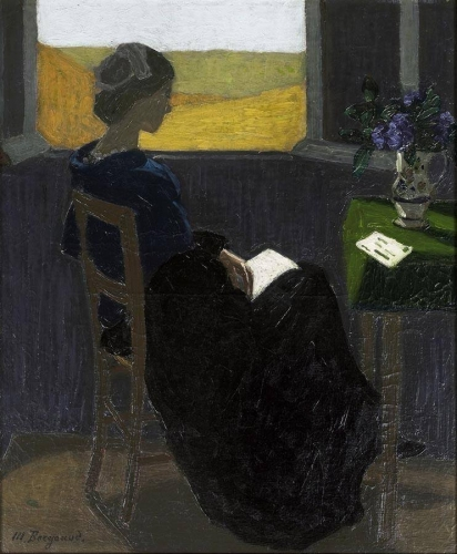Marius Borgeaud (Swiss, 1861-1924) , Young Woman Reading at the Window._n.jpg