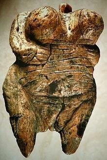 Venus of Hohle Fels ( height 6cm ) woolly mammoth tusk. Venus figurine found in 2008 near Schelklingen, Germany. It is dated to between 35.000 & 40000 years ago.jpg
