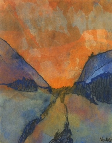 Emil Nolde Mountain Landscape, Valley with Sunset -.jpg