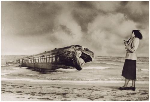 Grete Stern-En el andén Sueños 105, Idilio 40. Obras modificadas, 1949jpg.jpg