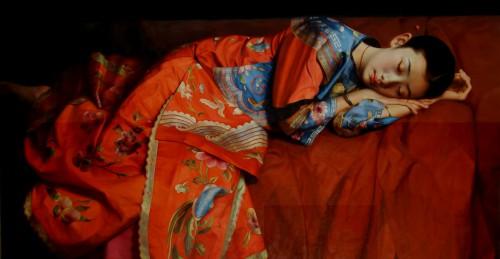 Zhao Kailin, Chinese lady in Red, Oil on Canvas, 52 x 56 inches.jpg