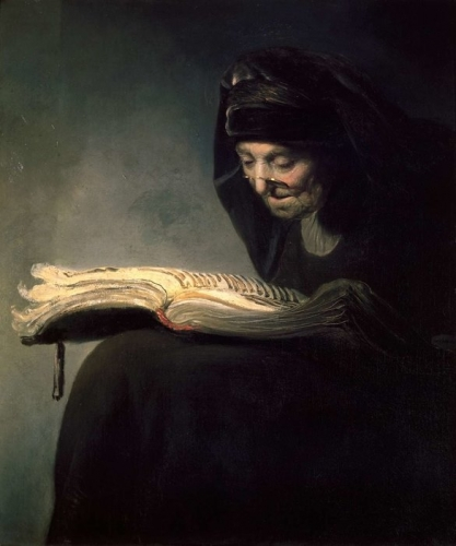 Rembrandt , (or circle of Rembrandt) , An Old Woman Readingn.jpg