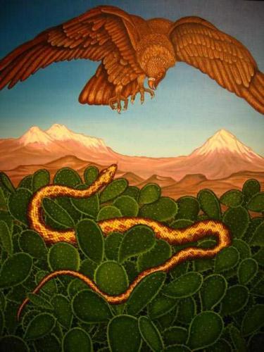 Hector Garcia quetzalcoatlReprésentation de la dualité aigle-serpent. Musée national d'anthropologie de Mexico.jpg