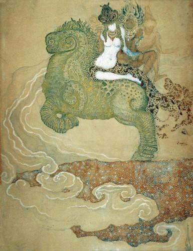 Nikolai Kalmakoff - Three Women Riding a Monster_ 1911 via 50watts.jpg