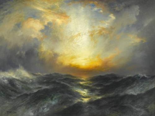 Thomas Moran - Sunset at Sea 1906.jpg