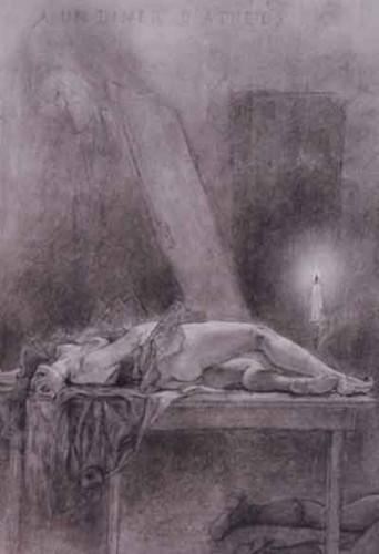 Félicien Rops, Á un dîner d'athée, 1879-84, crayon.jpg