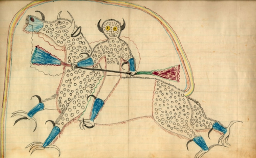 A ledger art by Lakota artist Black Hawk representing a dream of a thunder being. c.1880jpg.jpg