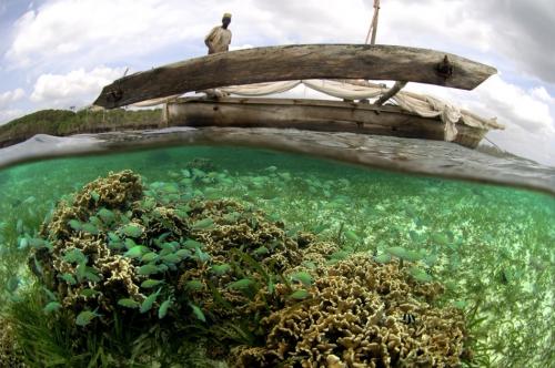 thomas p. peschak Fishing dhow crossing coral reef at high tide  Diani Kenya.jpg