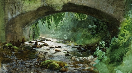 Anders Zorn rapids under old stone bridge.jpg