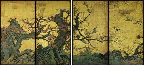 Kanō Sanraku, début du XVIIe siècle Prune_sur_paraventjpg.jpg