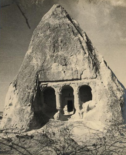 John Whiting and Eric Matson rock-carved wine press in Cappadocia, Turkey. 1935.jpg