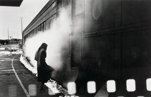 charles harbutt Woman and Train, Providence, Rhode Island 1976.jpg