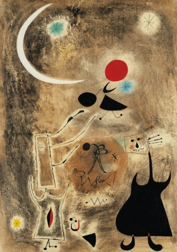 Joan Miro femme et oiseaux devant le soleil 1942.jpg