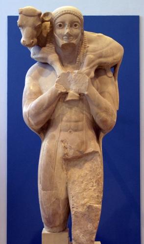 Moscophore, porteur de veau, 560 avt JC, musée d'Athène.jpg