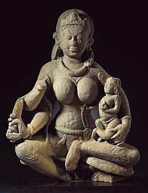 Mother Goddess with Child, Uttar Pradesh, Gupta period, 575-625.jpg