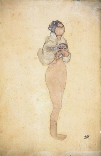 Auguste Rodin- La Cigale, aquarelle, et crayon 1896-1900.jpg