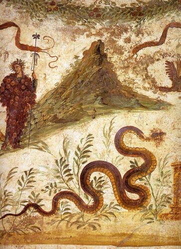 Agathodaimon (good divinity), genius of the soil around Vesuvius Pompeii.jpg