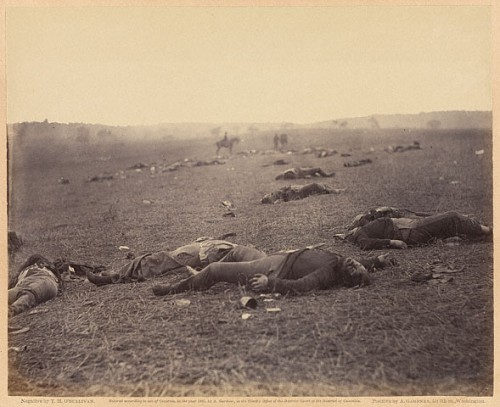 TIMOTHY H. O'SULLIVAN (originally printed by Alexander Gardner). A Harvest of Death, Gettysburg, Pennsivania. July. 18.jpg