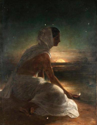 William Daniell (1769-1837) - une femme indienne qui porte des lampes à bord d'une rivière_n.jpg