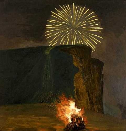 David Inshaw Firework and Bonfire, West Bay 2000.jpg