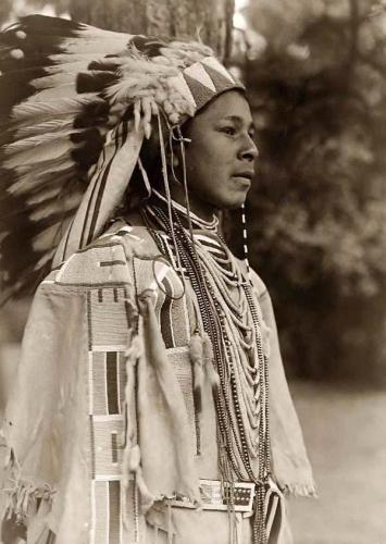 Edward S Curtis Umatilla Indain Boy in Feather Head Dress 1910.jpg