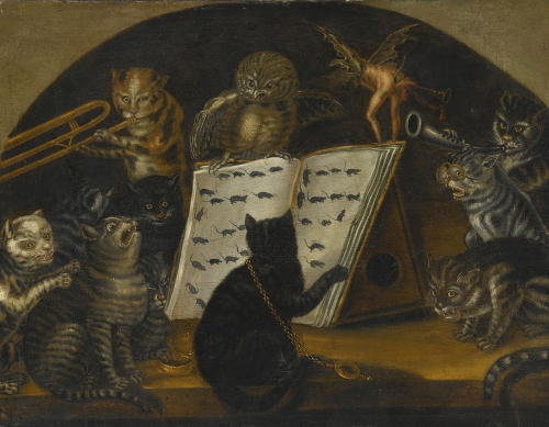 Lombard School c.1700 ~ Cats being instructed In the art of mouse-catching by an owl….jpg